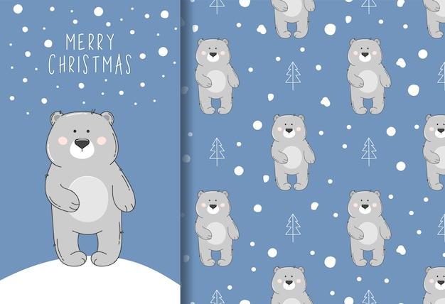 Modello senza cuciture con orso grigio e neve e cartolina d'auguri di buon natale.