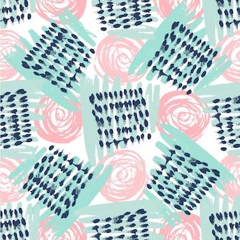 Seamless pattern con texture grunge. mano disegnata sfondo moda hipster