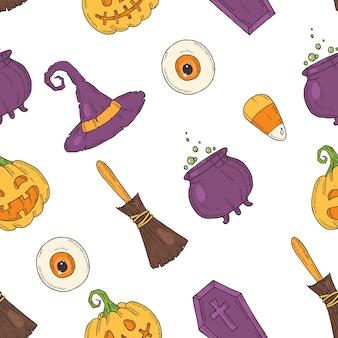 Modello senza cuciture con icone colorate di halloween