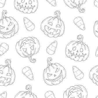 Modello senza cuciture con zucca di halloween jack e mais caramelle in stile schizzo isolato su bianco.