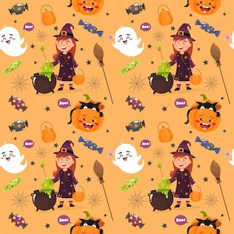 Modello senza cuciture con un tema di halloween. felice halloween.