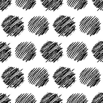 Modello senza cuciture con striscio di scarabocchio cerchio nero disegnato a mano. struttura astratta del grunge. illustrazione vettoriale