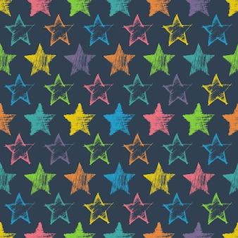 Modello senza cuciture con stelle blu disegnate a mano su sfondo blu. struttura astratta del grunge. illustrazione vettoriale