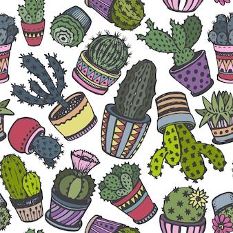 Modello senza cuciture con cactus disegnati a mano nello stile di abbozzo.