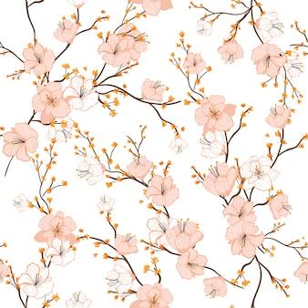 Modello senza cuciture con fiori di ciliegio disegnati a mano