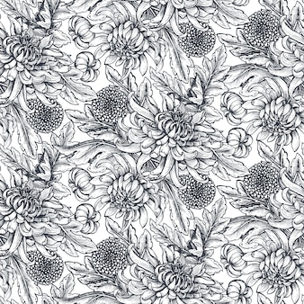 Modello senza saldatura con fiori di crisantemo disegnati a mano