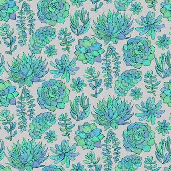 Seamless con piante succulente di colore disegnato a mano su sfondo grigio