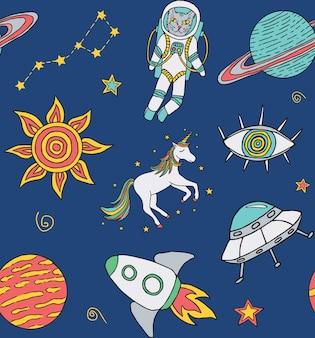 Modello senza cuciture con icone cosmiche disegnate a mano con pianeti unicorno stelle ecc