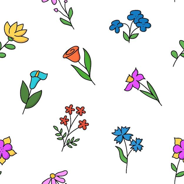 Modello senza cuciture con fiori disegnati a mano. design per carta, stampa tessile. sfondo floreale. illustrazione vettoriale.