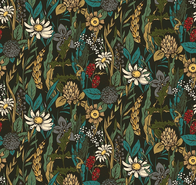Seamless con fiori ed erbe disegnati a mano. bellissimo sfondo infinito colorato.