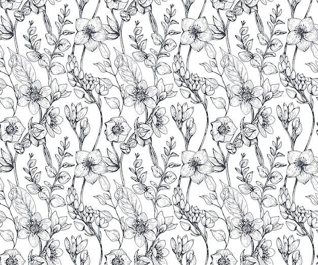 Modello senza cuciture con fiori e piante disegnati a mano nello stile di abbozzo.