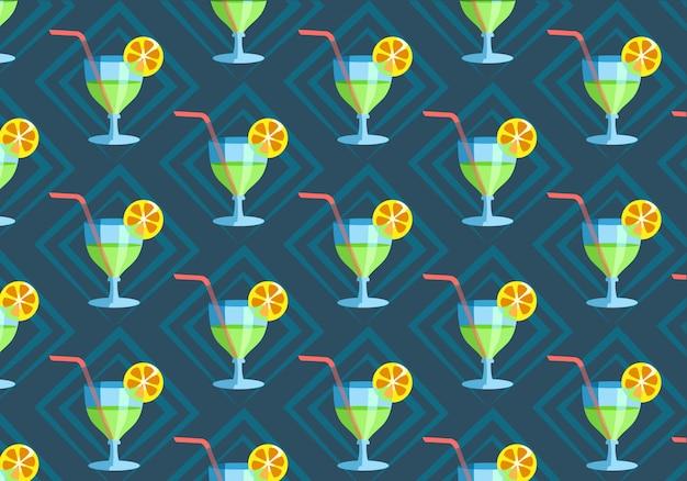 Modello senza cuciture con bicchiere di cocktail fresco disegnato a mano