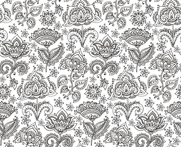 Modello senza cuciture con gli elementi floreali del hennè disegnati a mano