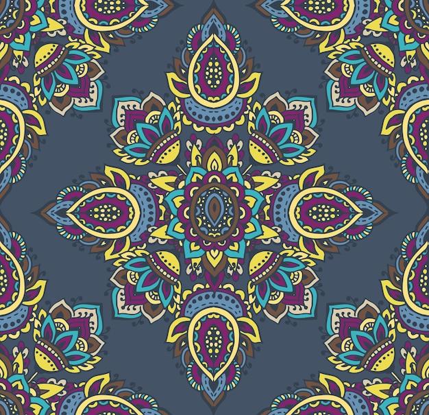 Seamless con elementi floreali mehndi henné disegnati a mano. bellissimo sfondo colorato infinito in stile indiano orientale in colori vivaci