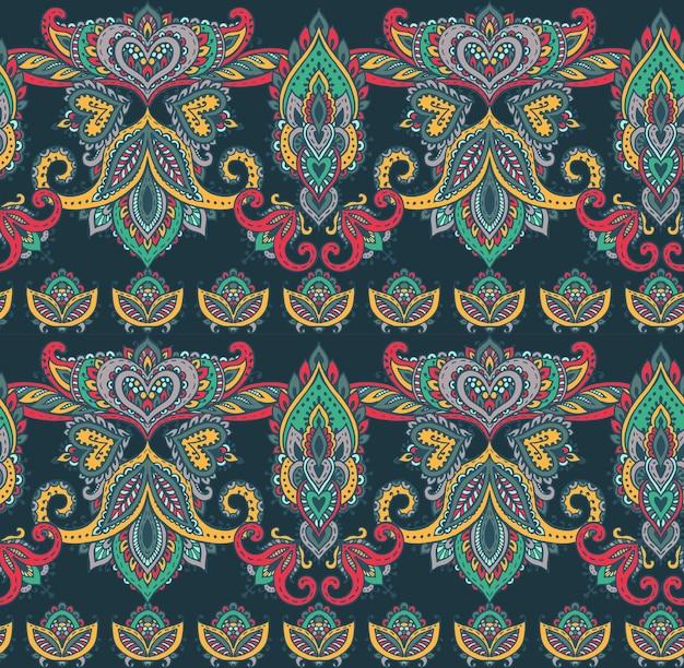 Senza cuciture con elementi floreali mehndi henné disegnati a mano. bellissimo sfondo infinito