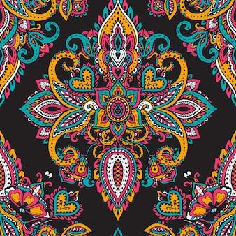 Senza cuciture con elementi floreali mehndi henné disegnati a mano.