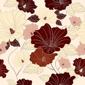 Modello senza cuciture con fiori di ibisco disegnati a mano su bianco