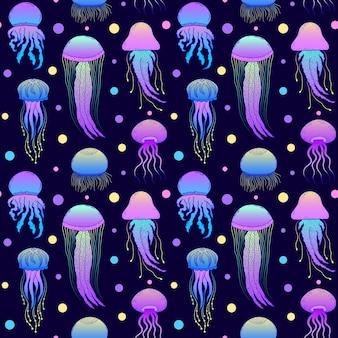 Modello senza cuciture con meduse disegnate a mano in stile doodle su sfondo blu scuro.