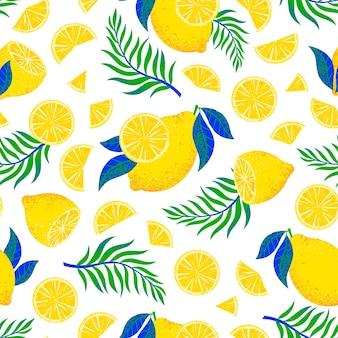 Modello senza cuciture con foglie e limoni disegnati a mano.