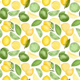 Modello senza cuciture con limoni e limette disegnati a mano