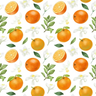 Modello senza cuciture con arance disegnate a mano e fiori d'arancio