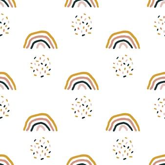 Modello senza cuciture con arcobaleni disegnati a mano. colore terracotta. texture scandinava creativa per tessuti, confezioni, tessuti, carta da parati, abbigliamento. illustrazione vettoriale