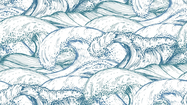 Modello senza cuciture con onde del mare disegnate a mano nello stile di abbozzo.