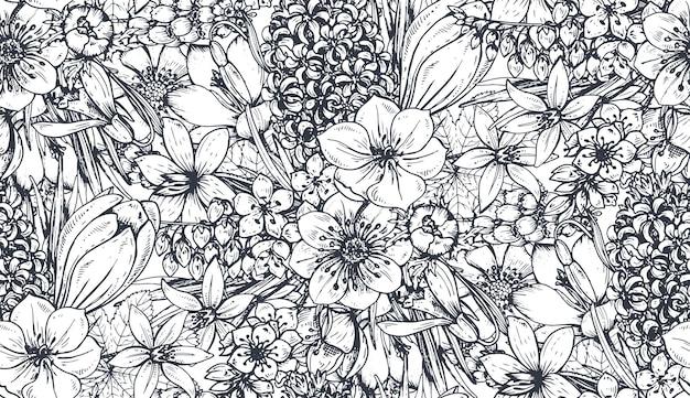 Modello senza cuciture con fiori e piante primaverili disegnati a mano nello stile di abbozzo. monocromo