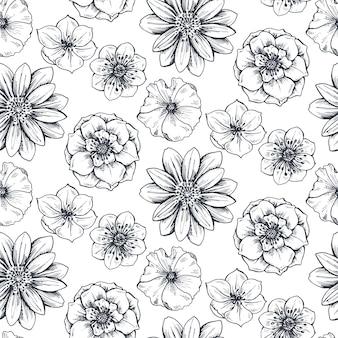 Modello senza cuciture con piante e fiori primaverili disegnati a mano nello stile di abbozzo. monocromo