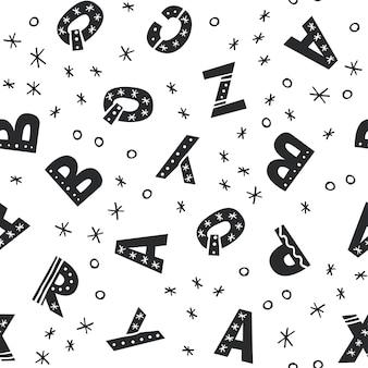 Modello senza cuciture con alfabeto latino stile disegnato a mano. tagliare l'illustrazione vettoriale isolata per lo sfondo dei tuoi bambini, il design della carta da parati. stile di schizzo di scarabocchio.