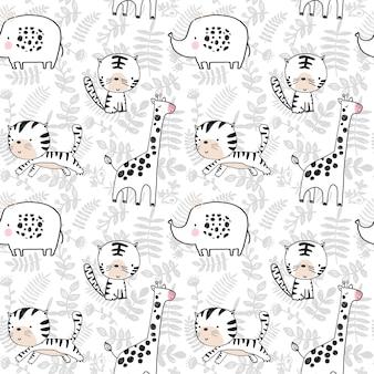 Modello senza cuciture con l'illustrazione disegnata a mano della giraffa e delle piante dell'elefante della tigre