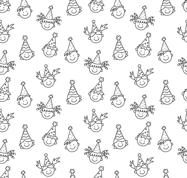 Modello senza cuciture con scarabocchi di buon compleanno. facce divertenti dei bambini. bambini in cappelli festosi in una vacanza divertente. bambini disegnati a mano di disegno. illustrazione vettoriale in stile doodle su sfondo bianco.