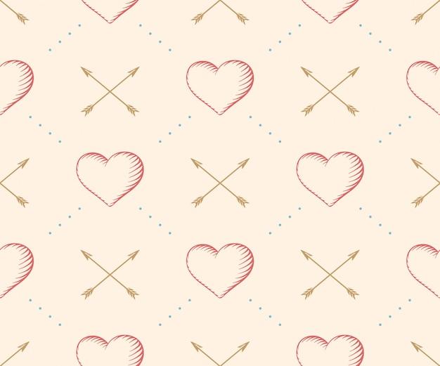 Modello senza cuciture con cuore e freccia nell'incisione di stile d'annata su un fondo beige per san valentino. disegnato a mano. illustrazione.