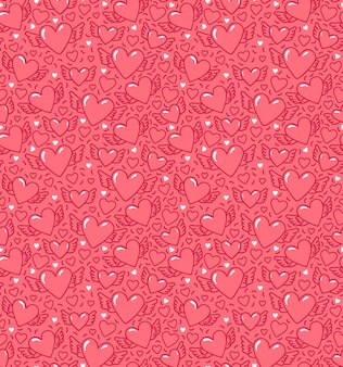 Modello senza cuciture con cuori e ali. cuori alati su sfondo rosa. modello per san valentino.