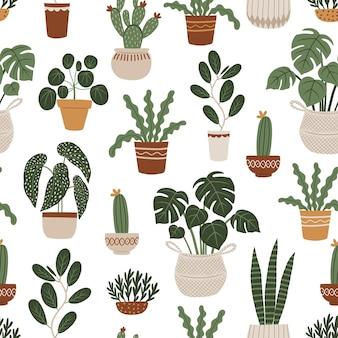 Modello senza cuciture con piante domestiche illustrazione vettoriale disegnata a mano in stile boho
