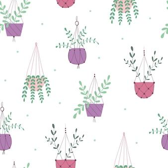 Modello senza cuciture con piante domestiche illustrazione piatta vettoriale illustrazioni botaniche di giardinaggio