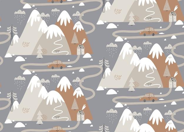 Modello senza cuciture con case, montagne, alberi, nuvole, neve, casa e auto. stile scandinavo