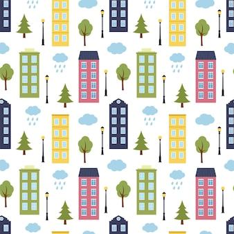 Modello senza cuciture con case, alberi, lanterne e nuvole, illustrazione vettoriale
