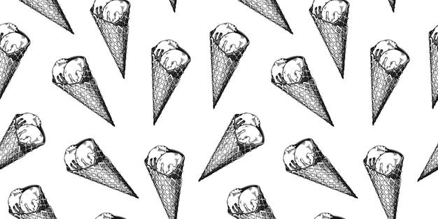 Modello senza cuciture con gelato. gelato realistico. illustrazione di vettore nello stile di abbozzo.