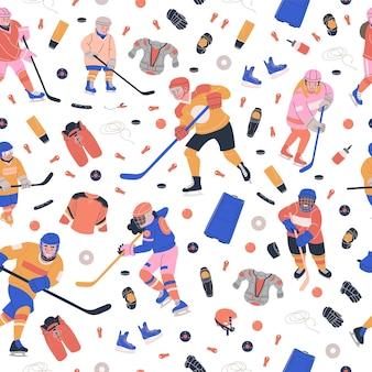 Modello senza cuciture con attrezzature da gioco di hockey su ghiaccio Vettore Premium