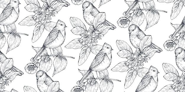 Modello senza cuciture con uccelli disegnati a mano con inchiostro sui rami degli alberi in fiore