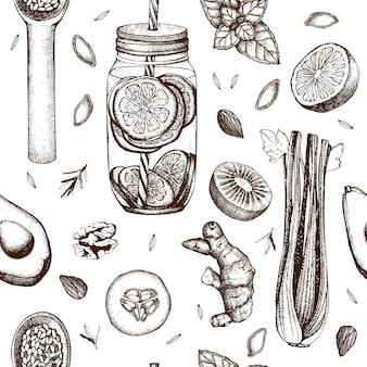 Modello senza cuciture con schizzi di cibo e bevande sani disegnati a mano di inchiostro. sfondo vintage. sfondo dieta estiva