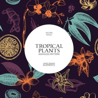 Modello senza cuciture con schizzo disegnato a mano di frutta tropicale, fiori e foglie di inchiostro. sfondo di piante esotiche vintage