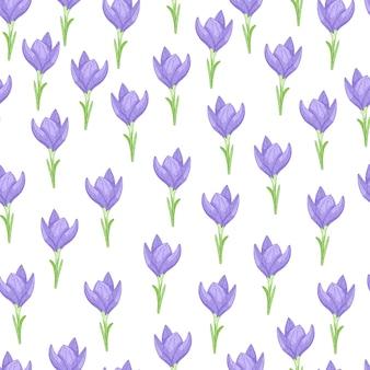 Modello senza cuciture con fiori di croco blu isolati piccolo ornamento.