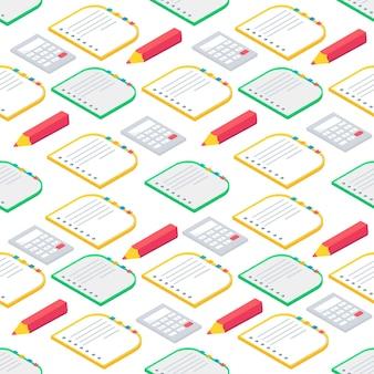 Modello senza cuciture con materiale scolastico 3d isometrico libro, taccuino, penna,