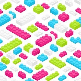 Modello senza cuciture con dettagli o pezzi del costruttore in plastica colorata isometrica su bianco