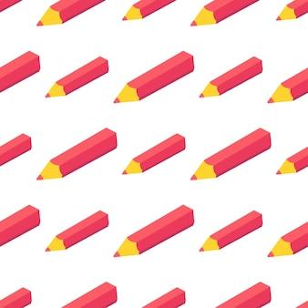 Modello senza cuciture con penna rossa isometrica