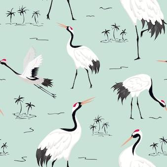 Modello senza cuciture con gru giapponesi, sfondo di uccelli retrò, stampa di moda, set di decorazioni giapponesi di compleanno. illustrazione vettoriale