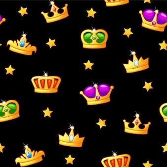 Modello senza cuciture con le icone della corona re. risorse per la progettazione del gioco Vettore Premium