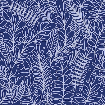 Modello senza cuciture con foglie. blu